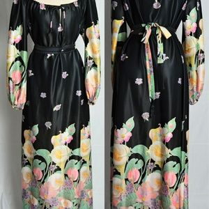 Vintage Calla Lily Black Maxi Dress with Band